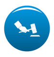 gavel in hand icon blue vector image