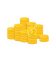 golden dollar piles metal coins realistic vector image