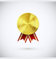 golden medal red ribbon gold award symbol vector image