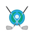 golf ball and sticks with green laurel isolated on vector image vector image