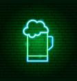 green beer mug neon sign vector image