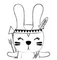 grunge cute rabbit animal with arrows and feathers vector image vector image