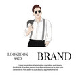 handsome hand drawn guy in stylish elegant vector image vector image