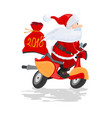 happy santa claus with a gift sack riding a vector image vector image