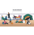 homeless people horizontal background vector image vector image