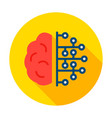human brain microchip circle icon vector image vector image