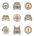 Icons Style Car Icons Set Design vector image
