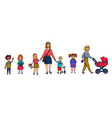 little children and nanny or mother funny cartoon vector image