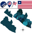 map of liberia with named counties vector image vector image