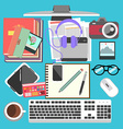 Messy working table vector image vector image