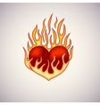 Red heart on fire tattoo vector image vector image