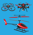 red helicopter dark quadrocopters vector image vector image