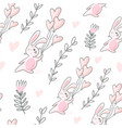seamless pattern with bunnies and hearts vector image