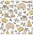 seamless pattern with cheese of different types - vector image