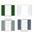 set of different windows with shutters vector image vector image