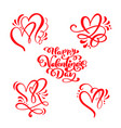 set of red calligraphy text happy valentines day vector image vector image