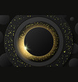 solar eclipse abstract black golden vector image