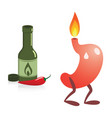 stomach spicy food and heartburn vector image