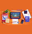 student desk top view teenager home workplace vector image vector image