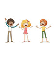three happy kids vector image