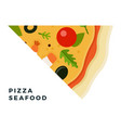 triangular seafood pizza piece flat icon isolated vector image