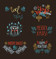 Vintage Hand Drawn Christmas headline vector image