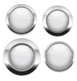 white buttons with chrome frame round glass shiny vector image