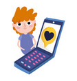 young man with smartphone message love romantic vector image