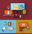 flat design icon collection for websites vector image