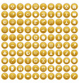 100 space icons set gold vector image vector image