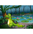 A forest with a pond crocodiles and fishes vector image vector image