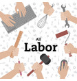 all labor hand holding equipment white background vector image
