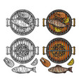 barbecue grill top view with charcoal fish steak vector image vector image