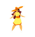 beautiful curvy overweight brunette girl in vector image vector image