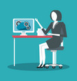 businesswoman working avatar vector image