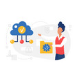 cloud computing web service user holding data vector image vector image