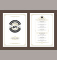 coffee menu template design flyer for bar or cafe vector image