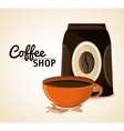 Coffee mug cup bag shop beverage icon vector image vector image
