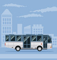 color poster city landscape with bus vehicle vector image vector image