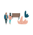 couple walking outdoors at autumn vector image