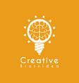creative idea brain pencil lamp pen design logo vector image