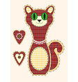 Cute cartoon cat in flat design for greeting card vector image