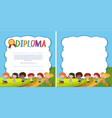 diploma and border template with happy kids in vector image