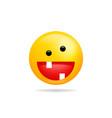 emoji smile icon symbol crazy smiley face yellow vector image vector image