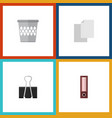 flat icon equipment set of trashcan paper clip vector image vector image