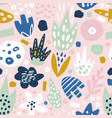 floral seamless pattern with funky flowers vector image