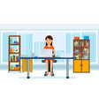 girl in strict clothes working at computer vector image vector image