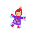 girl lying in the snow making snow angel vector image