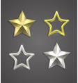 gold and silver stars with reflection vector image vector image
