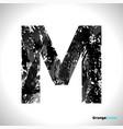 grunge letter m black font sketch style symbol vector image vector image